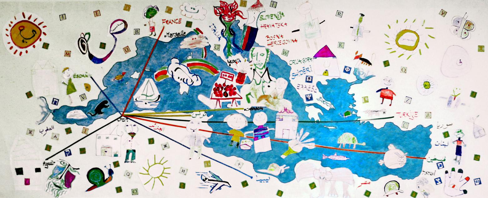 Fresque avec les enfants d'Oran